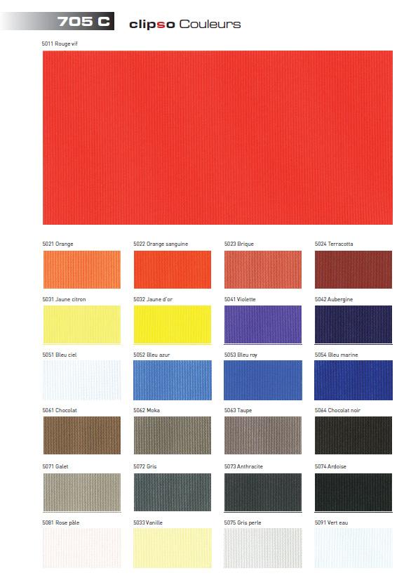 Clipso 705C (Color) — цветная ткань для натяжных поверхностей, выпускающаяся в 15-ти расцветках.